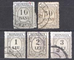 Rumänien; Portomarken, 1920/26; Michel 53/60 O; 5 Werte; Bild2 - Portomarken