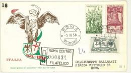 I. REPUBBLICA - FDC  RE.RU - ANNO 1958  - XL ANNIVERSARIO DELLA VITTORIA - RACCOMANDATA - 6. 1946-.. Repubblica