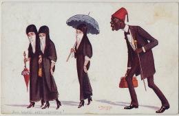 Illustrator Manavian 1917 Their Ladyship Under Surveyance Femmes Voilées Harem Surveillées Par Un Grand Noir - Arménie
