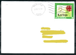 D25 Slowenien Slovenia Traveled Letter LettreBrezice Brief ATM Flame Used Personal Stamp Karitas Caritas Catholic - Slowenien