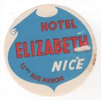 Etiquette Hôtel Elizabeth NICE - Etiquettes D'hotels