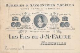Marseille 13 - Publicité Huileries Savonneries Cafés Verts - Les Fils De J.M. Faure