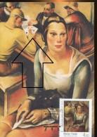 2916 Croatia,  Maximum 2011,  Painting Of Marijan Trepse  Woman With Cat,  And Card Players - Games