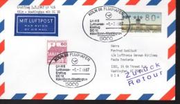 ALLEMAGNE    Lettre Poste Aerienne  1987 Washington DC 10 Avions  Koln 98 Flughafen Chateaux - Vliegtuigen