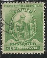 PERU´ 1896 1900 1898 MANCO CAPAC INCA DINASTY FOUNDER FONDATORE DINASTIA CENT. 1 USATO USED OBLITERE´ - Peru