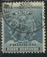 PERU´ 1896 1900 1899 FRANCISCO PIZARRO CONQUEROR INCA EMPIRE CONQUISTATORE IMPERO CENT. 5 USATO USED OBLITERE´ - Peru