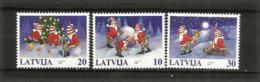 LETTONIE. Noël Letton (Elfes De La Mythologie Nordique).   3 Timbres Neufs ** - Christmas