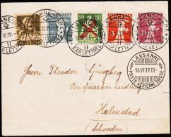 1919. 50 C. LUFTPOST. + 2½ + 3 + 7½ + 13C. LAUSANNE POSTE AERIENNE SUISSE 16.VI.19 To H... (Michel: 145+) - JF181953 - Svizzera