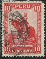 PERU´ 1934 1935 FRANCISCO PIZARRO CENT. 10 USATO USED OBLITERE´ - Peru
