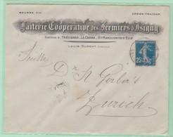 Cl.Ov1. CL-ouverte. L-Illustrée: Beurre/fermentation + Semeuse. Laiterie D´Isigny Pour Zürich. - 1906-38 Semeuse Camée