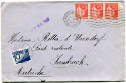 FRANCE LETTRE DEPART MARSEILLE-GARE 6-VIII 1933 Bches DU RHONE TAXEE A L'ARRIVEE EN AUTRICHE - France