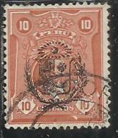 PERU´ 1930 LEGUIA OVERPRINTED IN BLACK (1924) SOPRASTAMPA NERA CENT. 10 USATO USED OBLITERE´ - Peru