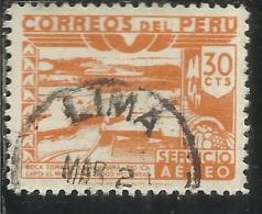PERU´ 1938 AIR MAIL POSTA AEREA DAM ICA RIVER DIGA FIUME CENT. 30 USATO USED OBLITERE´ - Peru
