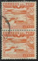 PERU´ 1938 AIR MAIL POSTA AEREA DAM ICA RIVER DIGA FIUME CENT. 30 COPPIA USATA PAIR USED OBLITERE´ - Peru