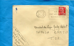 "MARCOPHILIE-lettre-Françe-cad 1950+flamme  "" Vin Alimernt..""-pour INDOCHINE  T O A SP72311 BPM 510 - Marcophilie (Lettres)"