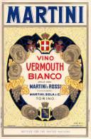 """04548  """"MARTINI - VINO VERMOUTH BIANCO - MARTINI E ROSSI - TORINO (BOTTLED FOR THE UNITED NATIONS)"""" ETICHETTA ORIGINALE. - Etichette"""