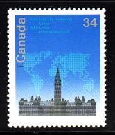 Canada MNH Scott #1061i 34c Stylized Map Over Parliament - Inter-Parliamentary Union Conference HF/DF - 1952-.... Règne D'Elizabeth II