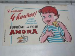 BUVARD Publicitaire  BLOTTING PAPER   -   La Moutarde AMORA Verre - Alimentare