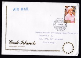 Cook Islands: First Day Cover 1998 As Commercial Cover To Netherlands, Single Franking Princess Diana Di (traces Of Use) - Cookeilanden