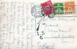 KOBENHAVN - Amalienborg Med Vagtparaden, Gel.1934, 1 D Englisches Nachporto, 3 Marken, Kleiner Fleck Auf Vorderseite - Dänemark