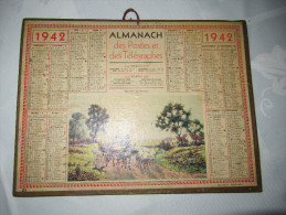 7-007 Almanach PTT 1942 Calendrier Calendar  Paris Beauce Ferme War Seconde Guerre Mondiale Pétain Etat Français Mouton - Calendars