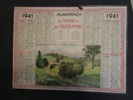 7-008 Almanach PTT 1941 Calendrier Calendar  Paris Beauce Ferme War Seconde Guerre Mondiale Pétain Etat Français Fchamps - Calendriers