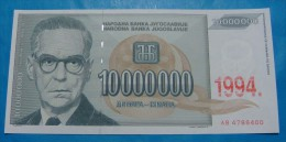 YUGOSLAVIA 10,000,000 DINARA 1994, UNC. Pick-144. IVO ANDRIC. - Yougoslavie