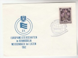 1962  Liezen  AUSTRIA EUROPAMEISTERSCHAFTEN Im RENNRODELN SPecial EVENT COVER European Flower Stamps - 1945-.... 2nd Republic