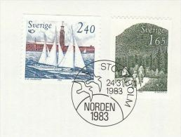 1983 SWEDEN   FDC  CYCLING, SAILING   Cover Bike Bicycle Stamps - FDC