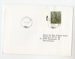 1987 Mariehamn ALAND COVER 2.50 FLOWER Stamps To Germany - Aland
