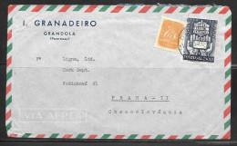 1950 Portugal $2 UPU Stamp, Grandola To Czech, Card - Covers & Documents