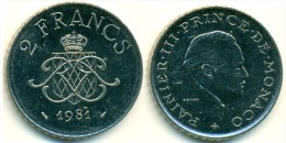 1981 Monaco 2 Francs Coin - 1960-2001 Nieuwe Frank