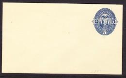 Ecuador 1880 - 5c Blue On Cream Envelope Pre Paid - Unaddressed - Ecuador