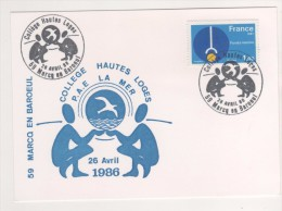 CARTE ILLUSTREE LA MER FONDS MARINS - COLLEGE HAUTES LOGES MARCQ EN BAROEUL 1986 - VOIR LE SCANNER - Lettres & Documents