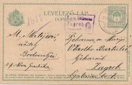 UNGARN  - 1916 , Post Card Nach Zagreb  Mit Zensur Zagreb 9 - Postal Stationery
