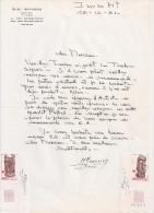 Lettre Autographe Signée Et 2 Timbres Signés De Michel Monvoisin, Graveur. - Altri