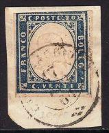 SARDEGNA 1861 - C. 20 AZZURRO OLTREMARE 15 Dc FRAMM (10) - ANNULLO CARAVAGGIO - Sardinia