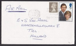 UK: Cover To Netherlands, 1981, 2 Stamps, Wedding Princess Diana, Lady Di, Prince Charles (traces Of Use) - 1952-.... (Elizabeth II)