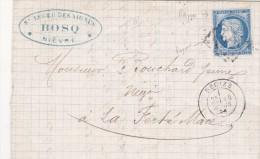 732   LAC  CERES  60 - 14.3.1876  De  DECIZE  à  LA FERTE MACE - Postmark Collection (Covers)
