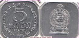 SRI LANKA 5 Cents 1988 KM#139a - Used - Sri Lanka