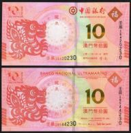 Macau Macao Set 2 PCS, 10 Patacas, 2012 Second Dragon Zodiac,P-New,UNC>BNU & BOC - Macao