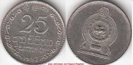 SRI LANKA 25 Cents 1982 (reeded Edge) KM#141.2 - Used - Sri Lanka