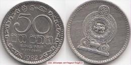 SRI LANKA 50 Cents 1982 (reeded Edge) KM#135.2 - Used - Sri Lanka