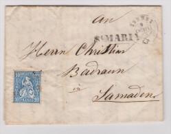 Heimat GR St.Maria 1863-10-09 Brief Nach Zernez Mit Zu#31 Sitzende Helvetia - 1862-1881 Helvetia Assise (dentelés)
