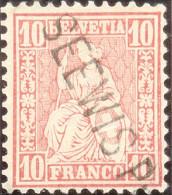 Heimat GR Seewis Prätt. 1868? Lang-O Auf 10Rp. Rot Sitzende H. - Oblitérés