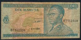 CONGO  P9a  10  MAKUTA    1967   DOUBLE LETTER PREFIX  VF NO P.h. - Republik Kongo (Kongo-Brazzaville)