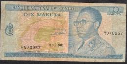 CONGO  P9a  10  MAKUTA    1967    VF Prefix Single Letter - Republik Kongo (Kongo-Brazzaville)