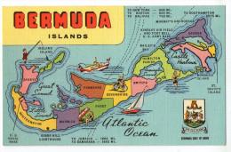 CPSM      BERMUDA  ISLAND   MAP OF L ISLAND OF BERMUDA   CARTE GEOGRAPHIQUE - Bermudes