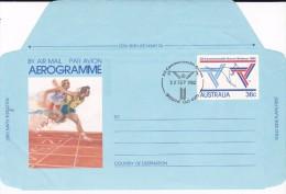Australia 1982 Commonwealth Games, Brisbane, Aerogramme Postmark Weight Lifting - Weightlifting
