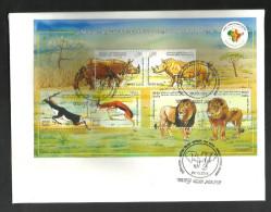 INDIA, 2015,FDC,3rd India Africa Forum Summit, MINIATURE SHEET, Fauna, Animals, Lions, Deer, Rhinoceros,JABALPUR CANCEL - FDC